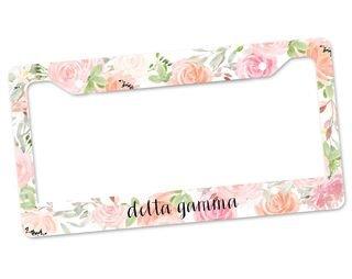 Delta Gamma Floral License Plate Frame