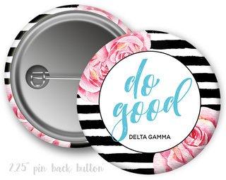 Delta Gamma Floral Motto Button