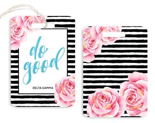 Delta Gamma Floral Motto Luggage Tag