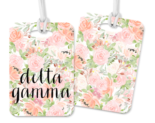 Delta Gamma Personalized Pink Floral Luggage Tag