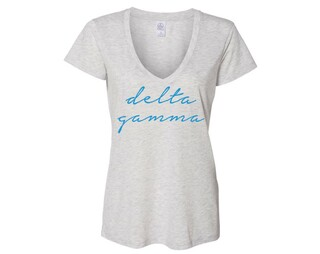 Delta Gamma Script Slinky Vneck