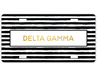 Delta Gamma Striped Gold License Plate