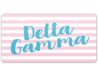 Delta Gamma Striped License Plate