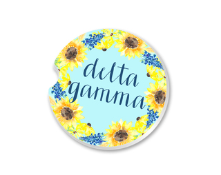 Delta Gamma Sunflower Car Coaster