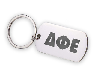 Delta Phi Epsilon Letters Stainless Keychain