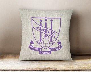 Delta Phi Epsilon Linen Crest - Shield Pillow