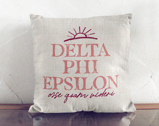 Delta Phi Epsilon Linen Sun Pillow