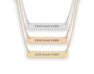 Delta Phi Epsilon Motto Bar Necklace
