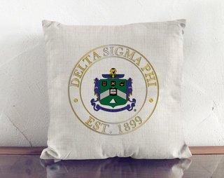 Delta Sigma Phi Crest Linen Pillow