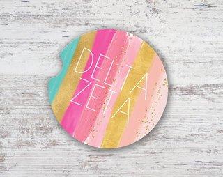 Delta Zeta Bright Stripes Sandstone Car Cup Holder Coaster