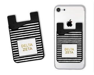 Delta Zeta Gold Stripes Caddy Phone Wallet