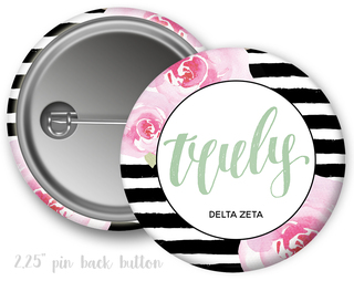 Delta Zeta Floral Motto Button