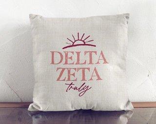 Delta Zeta Linen Sun Pillow