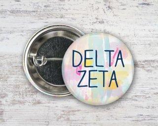 Delta Zeta Pastel Strokes Button