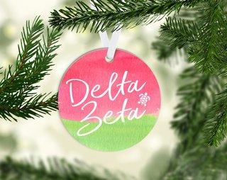 Delta Zeta Round Acrylic Watercolor Ornament
