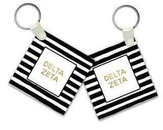 Delta Zeta Striped Gold Keychain