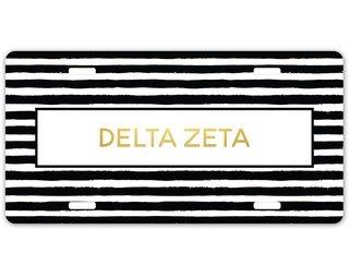 Delta Zeta Striped Gold License Plate