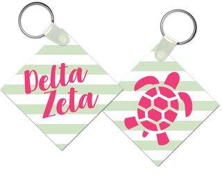 Delta Zeta Striped Mascot Keychain