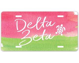 Delta Zeta Watercolor Script License Plate
