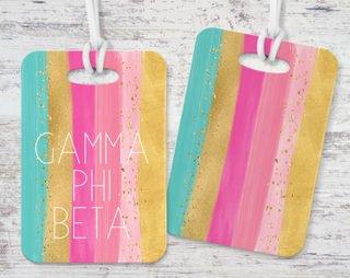 Gamma Phi Beta Bright Stripes Luggage Tag