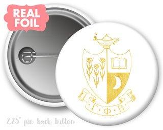 Gamma Phi Beta Foil Crest - Shield Button