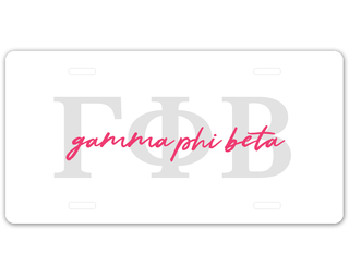 Gamma Phi Beta Letter Script License Plate