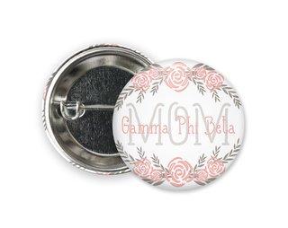 Gamma Phi Beta Mom Floral Button