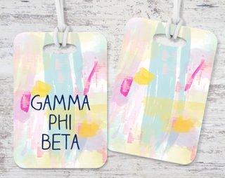Gamma Phi Beta Pastel Strokes Luggage Tag