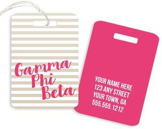 Gamma Phi Beta Personalized Striped Luggage Tag