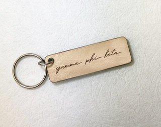 Gamma Phi Beta Rectangle Script Keychain