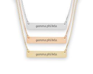 Gamma Phi Beta Script Bar Necklace