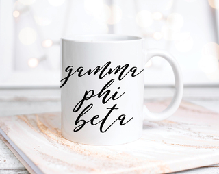 Gamma Phi Beta Script Mug