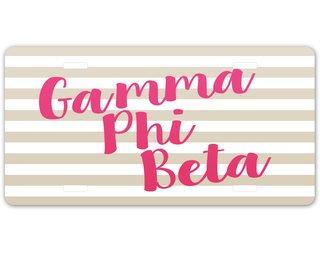 Gamma Phi Beta Striped License Plate