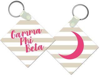 Gamma Phi Beta Striped Mascot Keychain