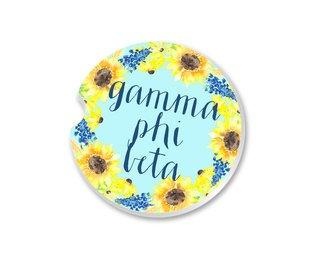 Gamma Phi Beta Sunflower Car Coaster