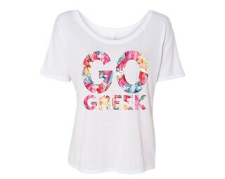 GO Greek Floral Flowy Tee