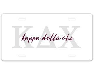 Kappa Delta Chi Letters Script License Plate