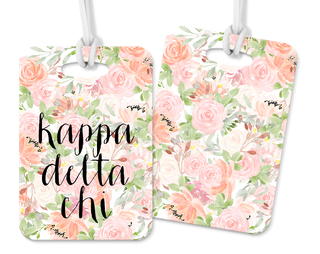 Kappa Delta Chi Personalized Pink Floral Luggage Tag