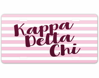 Kappa Delta Chi Striped License Plate