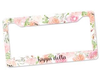 Kappa Delta Floral License Plate Frame