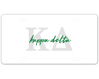 Kappa Delta Letter Script License Plate
