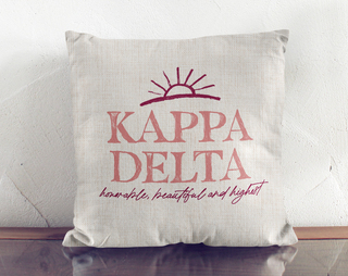 Kappa Delta Linen Sun Pillow