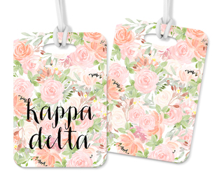 Kappa Delta Personalized Pink Floral Luggage Tag