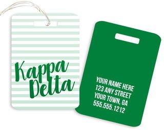 Kappa Delta Personalized Striped Luggage Tag