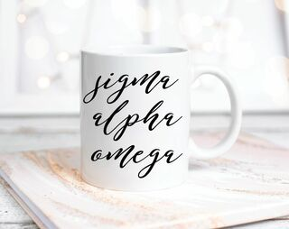 Sigma Alpha Omega Script Coffee Mug