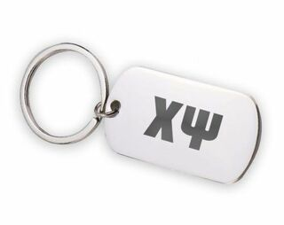 Chi Psi Letters Stainless Keychain