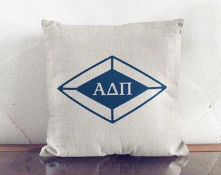 Alpha Delta Pi Linen Diamond Pillow