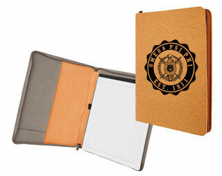 Omega Psi Phi Leatherette Zipper Portfolio with Notepad