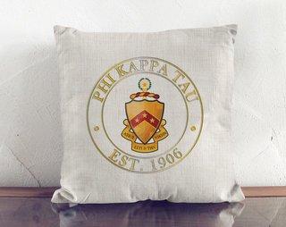 Phi Kappa Tau Crest Linen Pillow