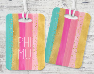 Phi Mu Bright Stripes Luggage Tag